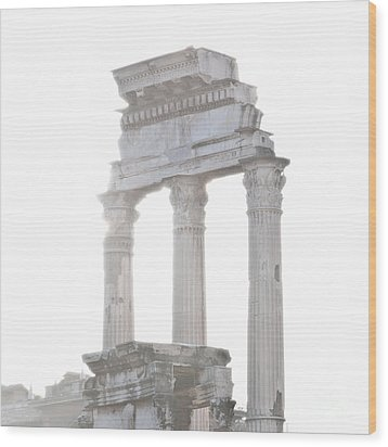 White Columns Temple Of Castor And Pollux In The Forum Rome Italy Wood Print by Andy Smy