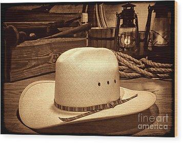 White Cowboy Hat In A Barn Wood Print