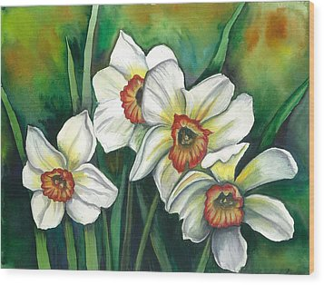 White Daffodils Wood Print