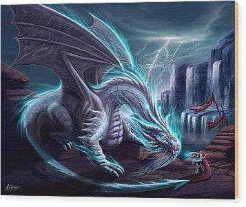 White Dragon Wood Print by Anthony Christou