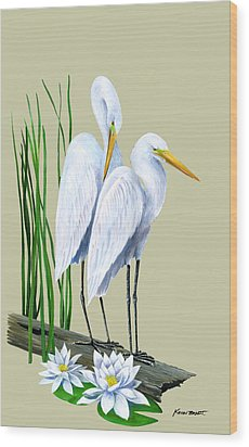 White Egrets And White Lillies Wood Print