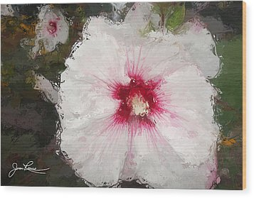 Wood Print featuring the painting White Flower by Joan Reese