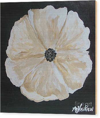 White Flower On Black Wood Print