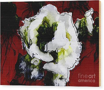 White Flower On Red Background Wood Print