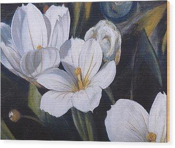 White Flower Study Wood Print by Victoria Heryet