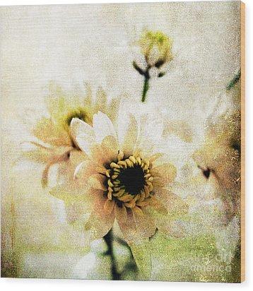 White Flowers Wood Print by Linda Woods