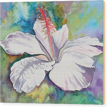 White Hibiscus Waimeae Wood Print by Marionette Taboniar