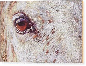 White Horse Close-up Wood Print by Elena Kolotusha