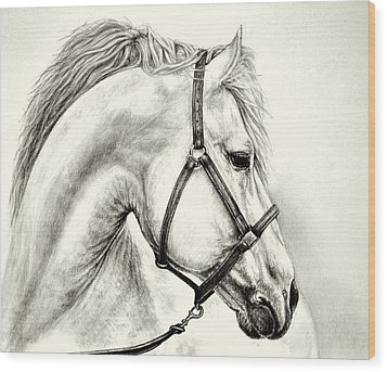 Wood Print featuring the drawing White Horse by Heidi Kriel