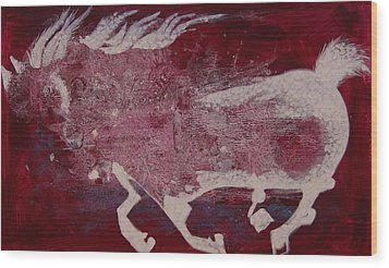 Wood Print featuring the painting White Horse by Sima Amid Wewetzer