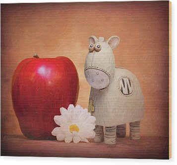 Wood Print featuring the photograph White Horse With Apple by Tom Mc Nemar