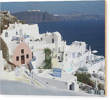 White Houses Of Oia Wood Print