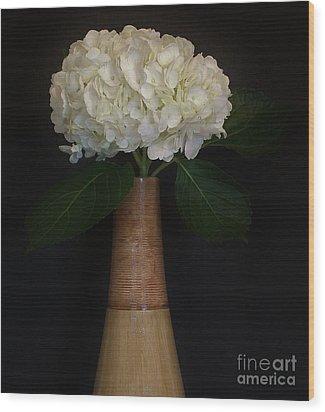 White Hydrangea In Gold Vase Wood Print by Marsha Heiken