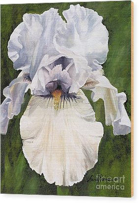 Wood Print featuring the painting White Iris by Laurie Rohner
