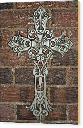 White Iron Cross 1 Wood Print by Angelina Vick