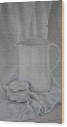 White Jug And Pebbles Wood Print