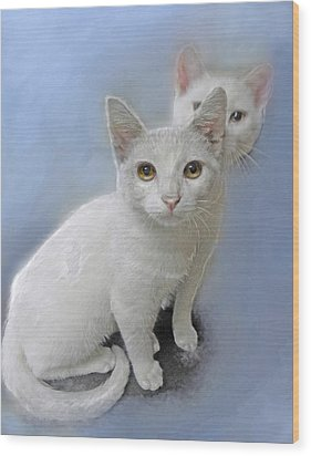 White Kittens Wood Print by Jane Schnetlage
