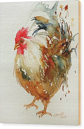 White Knight Rooster Wood Print