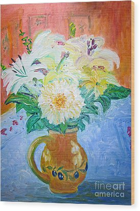 Wood Print featuring the painting White Lilies In Olive Jug by Barbara Anna Knauf