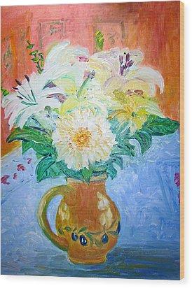 White Lilies In Olive Jug Wood Print by Barbara Anna Knauf