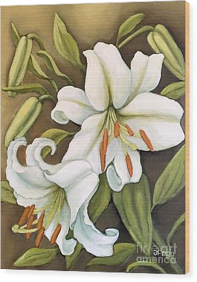 White Lilies Wood Print by Inese Poga