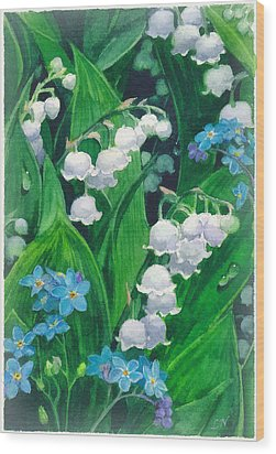 White Lilies Of The Valley Wood Print