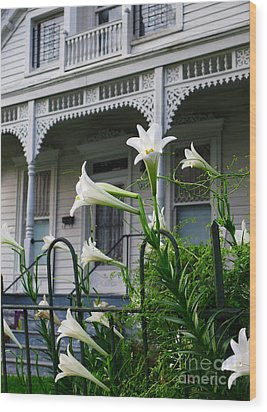 White Lilies With White Detail Wood Print