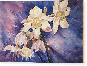 White Lillies Wood Print by Estela Robles