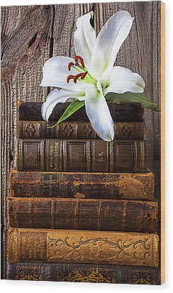 White Lily On Antique Books Wood Print by Garry Gay