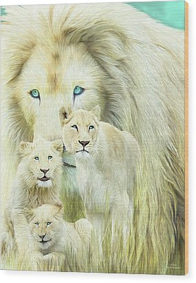Wood Print featuring the mixed media White Lion Family - Forever by Carol Cavalaris