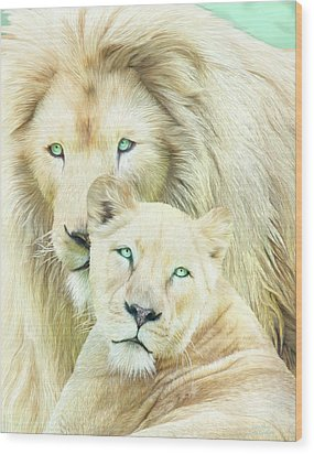 Wood Print featuring the mixed media White Lion Family - Mates by Carol Cavalaris