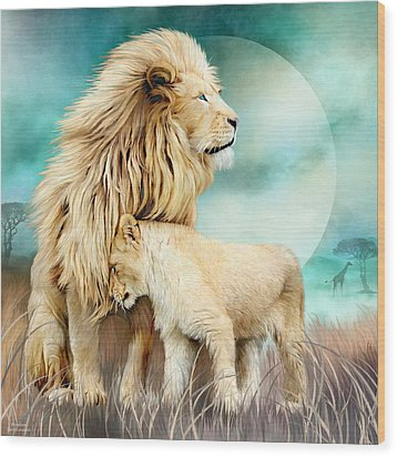 Wood Print featuring the mixed media White Lion Family - Protection by Carol Cavalaris