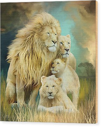 Wood Print featuring the mixed media White Lion Family - Unity by Carol Cavalaris
