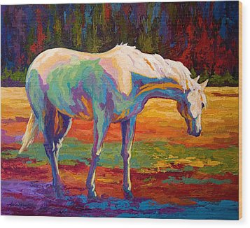 White Mare II Wood Print by Marion Rose