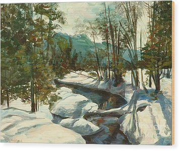 White Mountain Winter Creek Wood Print