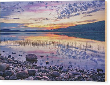 Wood Print featuring the photograph White Night Sunset On A Swedish Lake by Dmytro Korol