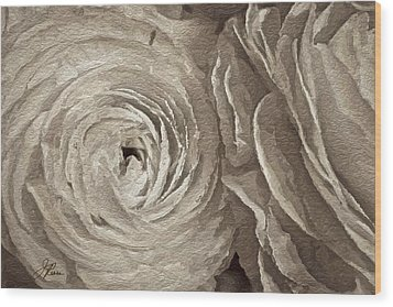 Wood Print featuring the painting White On White Rose by Joan Reese