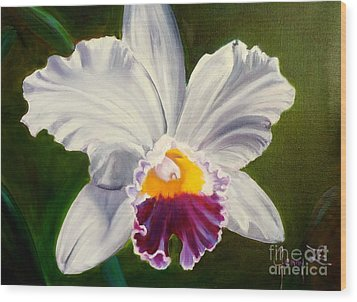 Wood Print featuring the painting White Orchid by Jenny Lee