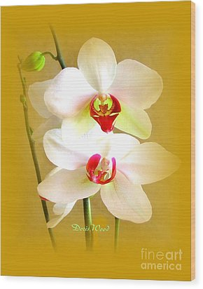 White Orchids Wood Print by Doris Wood
