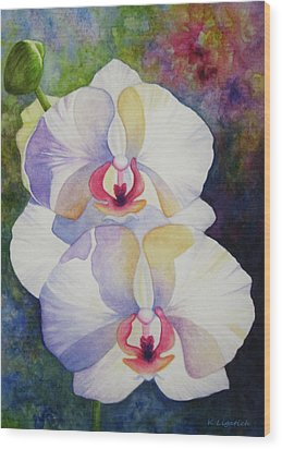 White Orchids Wood Print by Kerri Ligatich