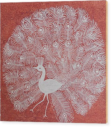 White Peacock Dance- Original Warli Painting Wood Print by Aboli Salunkhe