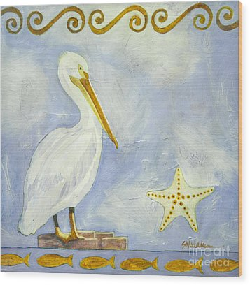 White Pelican Wood Print