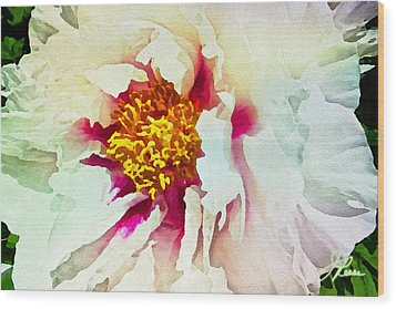 Wood Print featuring the painting White Peony by Joan Reese