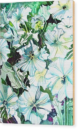 White Petunias Wood Print by Mindy Newman