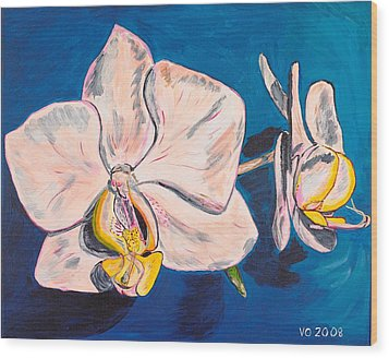 White Phalaenopsis Orchids Wood Print by Valerie Ornstein