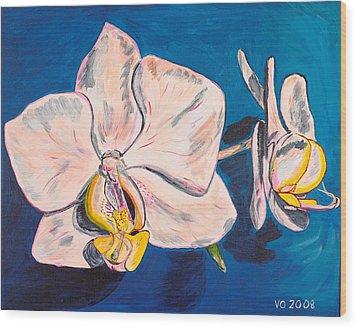 White Phalaenopsis Orchids Wood Print