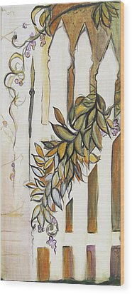 White Pickett Fence Wood Print by Carrie Jackson
