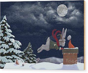 White Rabbit Christmas Wood Print by Audra Lemke