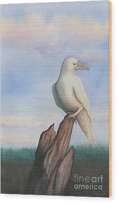 White Raven Wood Print