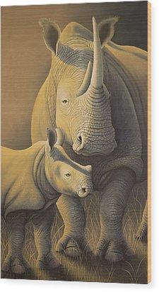 White Rhino Fading Into Extinction Wood Print
